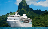 Cruise ship in Bora Bora near mountain (PHOTO: Photo via Paul Gauguin cruises)